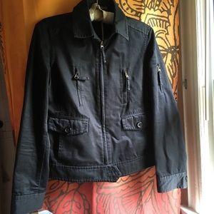 J. Crew Black Cotton Zip Jacket Sz M EUC